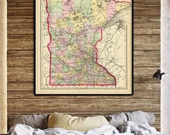 Minnesota map  - Old map of Minnesota fine print