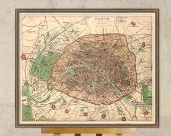 Old map of Paris - Paris map - Fine reproduction