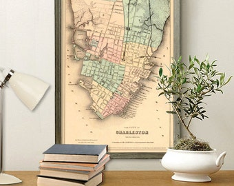 """Charleston map - Antique map - Historic map print -  Vintage city map Print - 16 x 25"""", available on paper or canvas"""