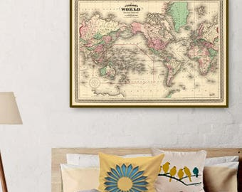 Map of the world  - World wall map - Vintage map of the world archival print - Various sizes
