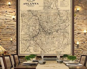 Map of Atlanta - Old map  restored - Archival fine print of Atlanta map