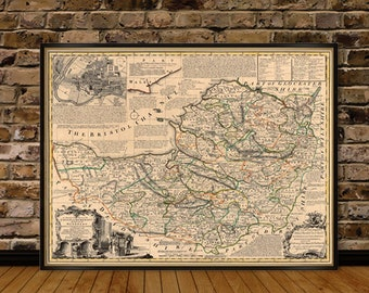 Map of Somerset County - Old map of Somerset, fine print