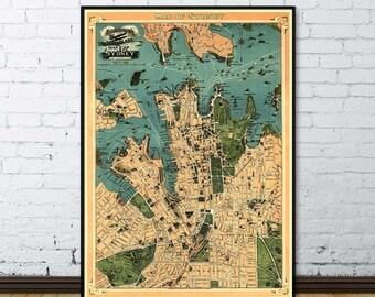 "Sydney map  (Australia) - Old map of Sydney - ""Aeroplane map of Sydney"" -  Fine art print"