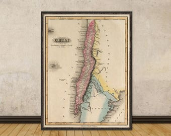 Old map of Chile - Chile map archival print - Old map restored - Giclee reproduction on paper or canvas