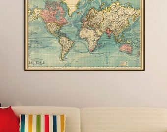 Map of the world  - Vintage map of the world -  The World on Mercator's projection - Large map print