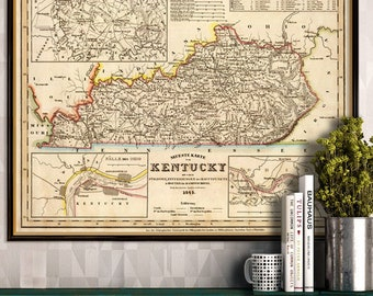 Kentucky map - Vintage map of Kentucky fine reproduction - Old maps restored