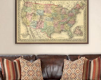 United States map  - Archival maps print - Vintage map of USA-  Historic map restored  - Old map fine art print
