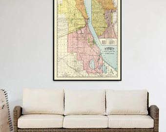 Map of Chicago print -  Archival print - Wonderful map of Chicago print for wall decoration