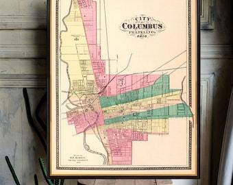 24x36 Vintage Reproduction Historic Map Columbus Georgia 1886 Muscogee