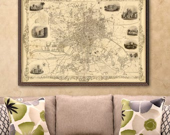 Leeds map - Old city plan - Archival reproduction