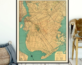 Old map of Brooklyn reproduction - Large Brooklyn map - Old maps restored fine prints -  Part of Commercial Atlas Of America