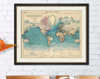 Vintage map of the world -  Large wall  map -  Archival print - Many sizes available