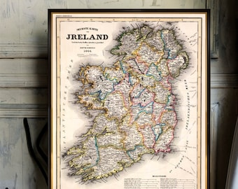 Old map of Ireland - Archival reproduction - Ireland map restored - Fine print