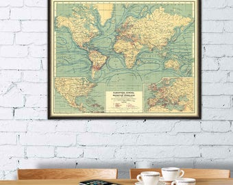 Map of  the world - Vintage world map - Old map print - Large map poster  - Giclee reproduction