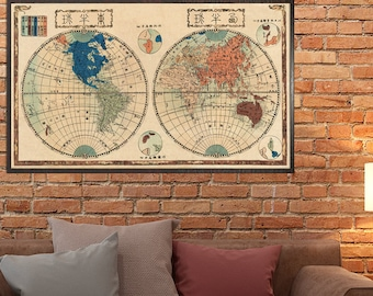 """Japanese Map of the world  - Antique world map print - 19 x 33 """""""