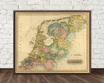Old map of  The Netherlands - Holland  map print  - Vintage maps reproductions
