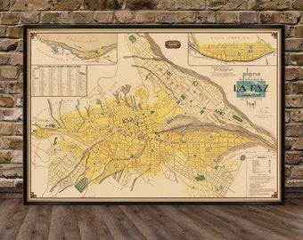 La Paz map - Old map of La Paz -  Plano de la Ciudad de La Paz - Large map print on paper or canvas