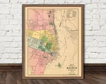 Halifax map - Vintage map of Halifax - Fine print for wall decor