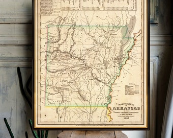 Old map of Arkansas - Historical map restored, fine reproduction