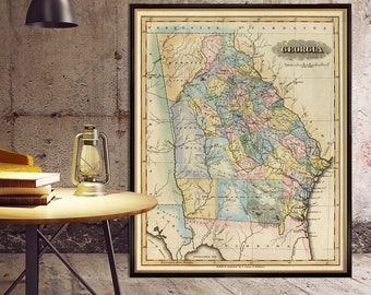 Georgia map - Antique map of Georgia - Wall map reproduction