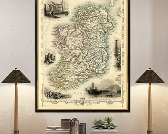 Ireland map - Old map of Ireland - Old city map print - Fine print - Map reproduction on paper or canvas