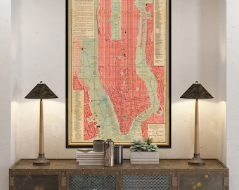 Old map of New York City -  Vintage map print - NYC  map restored - Fine print - Wonderful old map