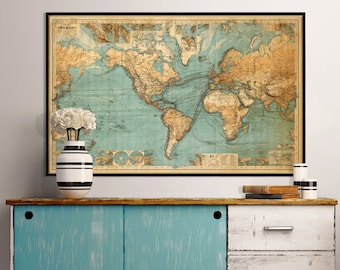 world map print chart of the world world map fine reproduction large world map available in 1 piece or 3 sections