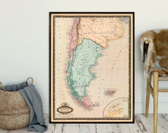 Argentina map - Chile map - Falkland Islands map - Vintage map fine print on paper or canvas