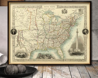 Vintage map of USA Print  - Arhival print - Old map of United States  fine reproduction