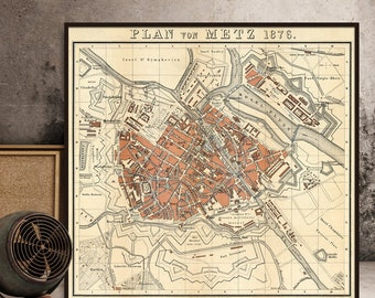 Old map of Metz  (France)  - Map of Metz - Giclee fine print