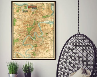 """Brisbane map - Old map of Brisbane print - Old city map restored - Large map of Brisbane - up to 30 x 40.5"""" on paper or canvas"""