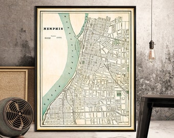 Vintage map of  Memphis - Old map fine print -Two versions available, printed on paper or canvas