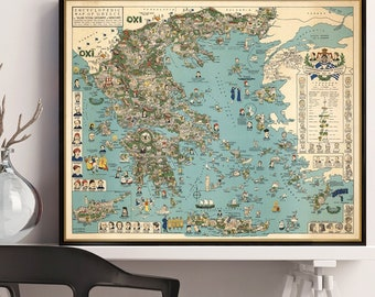 Old map of Greece - Pictorial map of Greece - Bilingual map in Greek and English -Large map available on paper or canvas