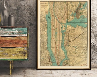 Map of  Manhattan  - Old map of Manhattan New York - Manhattan map archival print on fine coated paper or canvas