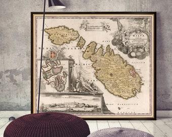 Map Of Malta Malta Street Map Ships From USA /& EU Malta Map Malta Map Print Custom Maps Malta Map Poster