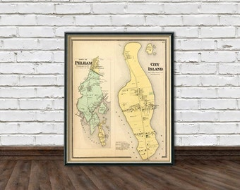 Old map of  City Island  - Pelham map - Old maps prints