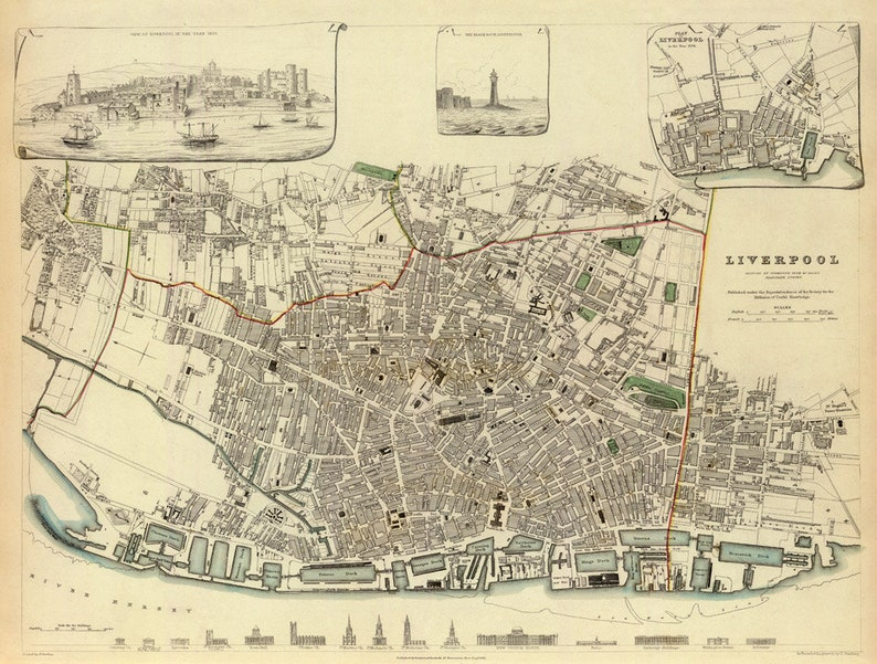 Liverpool map UK Old map of Liverpool fine print on   Etsy