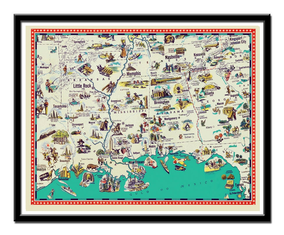 Map of Arkansas , Mississippi, Tennessee, Louisiana and ...