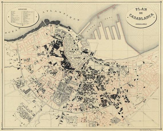 Map of Casablanca - Historic map - Giclee archival map poster on paper Casablanca Map on johannesburg map, key largo map, algeria map, timbuktu map, potsdam map, dubai map, morocco map, tripoli map, western sahara map, marrakesh map, marrakech map, africa map, algiers map, dar es salaam map, cape town map, damascus map, accra map, salerno map, oran map, lima map,