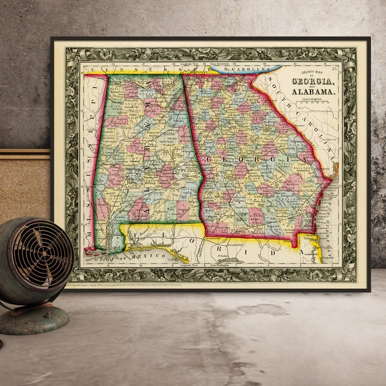 Vintage map of Alabama Georgia map from 1860 giclee print | Etsy