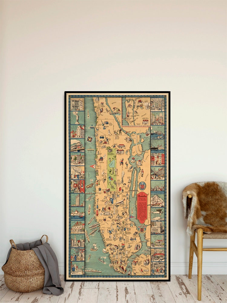 Manhattan pictorial map - Vintage map of Manhattan, decorative wall on
