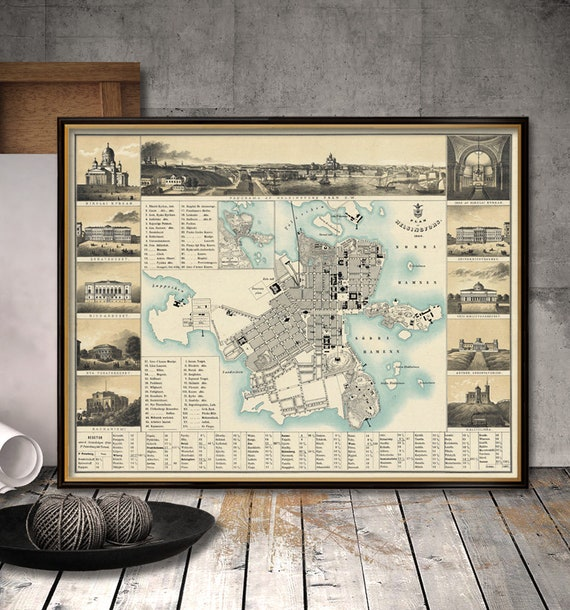 Helsingfors Map Old Map Of Helsinki City Maps Etsy
