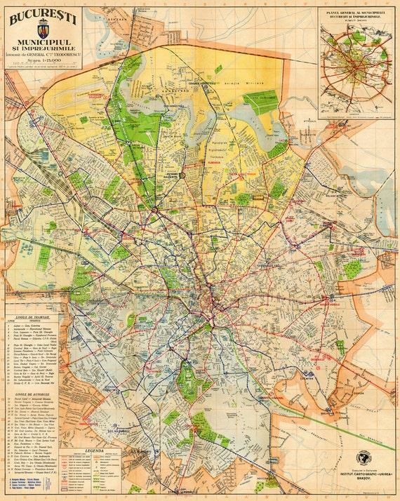 Bucharest Map Archival Fine Print Harta Orasului Bucuresti Etsy