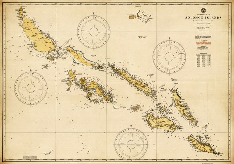 Solomon Islands map - Old map restored, fine print on paper or canvas