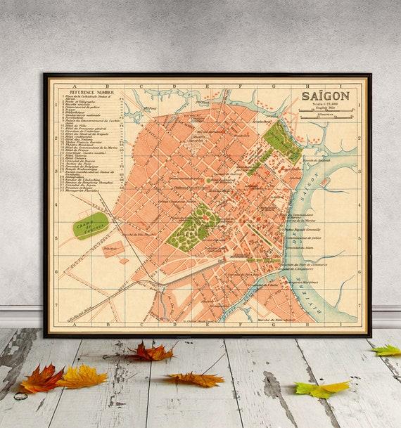 Carte De Saigon Vieille Carte Imprimer Ancien Reproduction De Plan De Ville Sur Papier Ou Toile