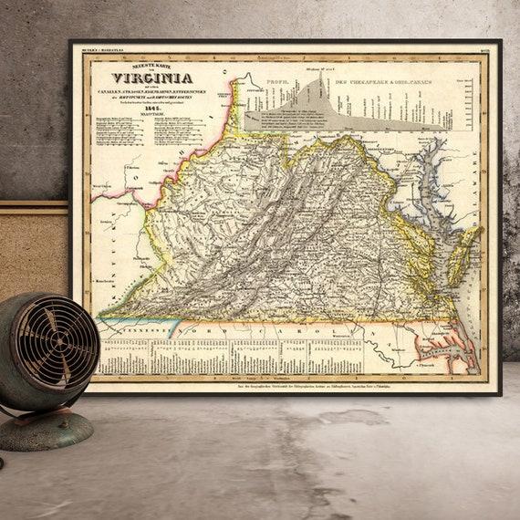 Virginia Map Old Map Restored Map Of Virginia Archival Etsy