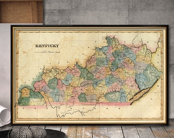 Old map of Kentucky - Decorative map fine reproduction