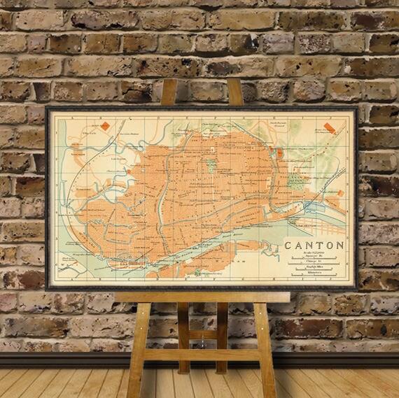 Guangzhou Ems China Map.Canton Map Guangzhou Map Old Map Print Restored Map Etsy