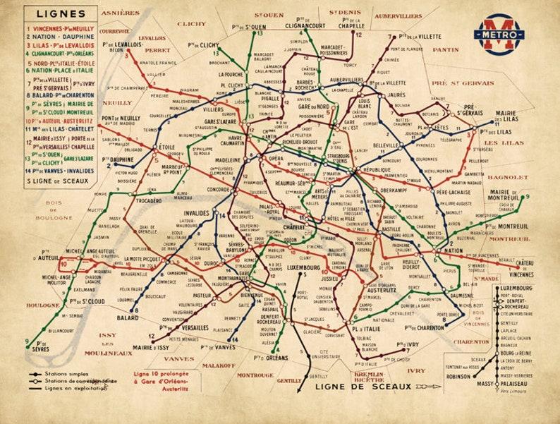 Paris Metro Map Printable.Paris Metro Map Paris Subway Map Paris Metro Plan Officiel Etsy