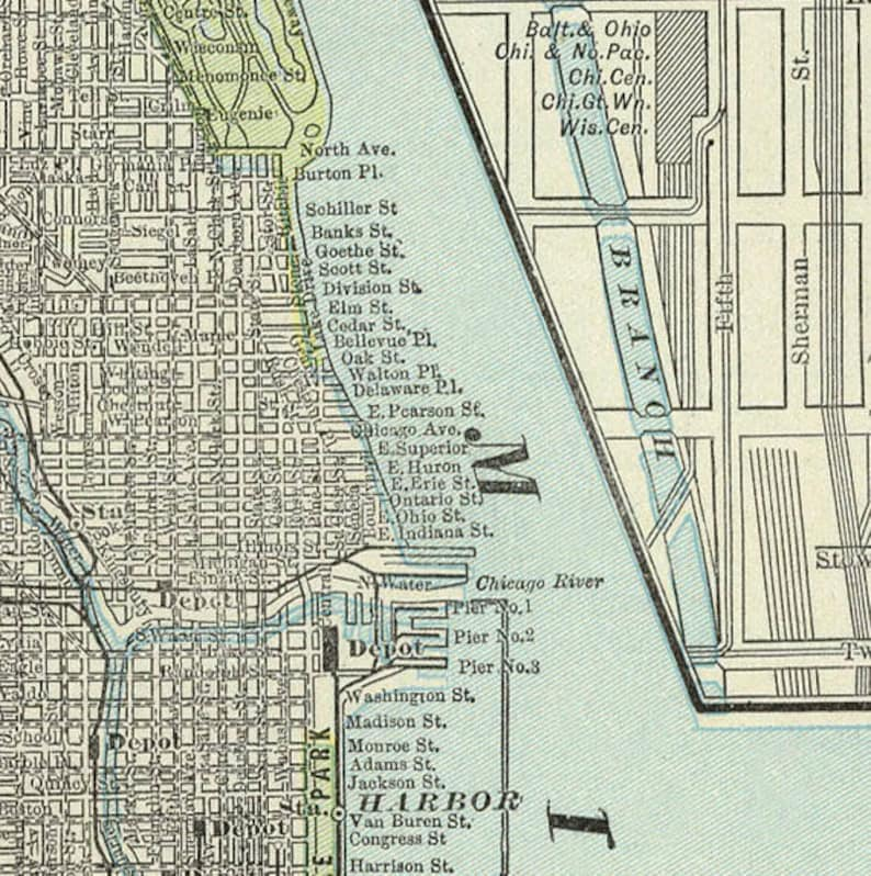 Map of Chicago - Antique Chicago city map print - Large format